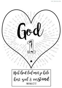 Mattheus 22:37- Zondagsschool werkje; Heb God lief; God eerst (deel 1 van 2)