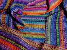 Handwoven Rainbow Towels by DebbieBspinner, via Flickr Woven in huck, randomly warped.