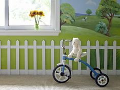 Kid's bike is cornflower blue >> http://www.hgtv.com/kids-rooms/25-basics-of-painting-murals/pictures/index.html