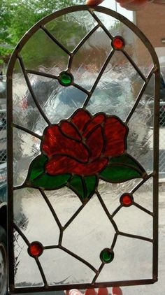 LARGE RED ROSE STAINED GLASS DOOR!