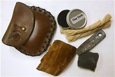 Image result for fire starting kits in leather pouches Leather Wallets, Leather Pouch, Bushcraft Camping, Belt Pouch, Pouches, Survival, Outdoors, Fire, Horses