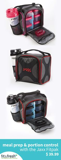 Stay on track with your 2017 fitness resolutions with a Jaxx FitPak meal prep bag with portion control containers.