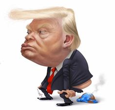 Yeeepppp that pretty much sums it up. Funny Caricatures, Celebrity Caricatures, Political Satire, Political Cartoons, Cartoon Faces, Funny Faces, Trump Karikatur, Donald Trump Caricature, Funny Photos