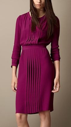 Pleat Detail Cotton Silk Dress, Burberry, Bracelet Sleeve, Pleated, Gathered Waist Dress, Magenta,Office Dress