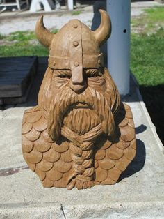The Viking is done, and is settling into his new home. I applied a satin polyurethane to seal without creating a lot of shine. I'm happy wit. Wood Carving Faces, Wood Carving Designs, Wood Carving Patterns, Wood Carving Art, Wood Art, Wood Carvings, Viking Designs, Celtic Designs, Bigfoot Pictures