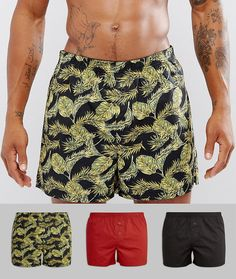 ASOS Woven Boxers In Gift Box With Leaf Print 3 Pack - Multi
