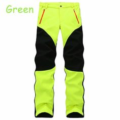 Mens Outdoor Sport Pants Elastic Soft Shell Warm Fleece Lined Vivid Color Waterproof Trouser