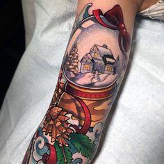 80 Christmas Tattoos For Men - Xmas Holiday Design Ideas Make Tattoo, Tattoo You, Tattoos For Guys, Cool Tattoos, Crazy Tattoos, Tatoos, Pumpkin Tattoo, Christmas Tattoo, Christmas Tree