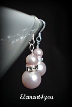 Novia joyas plata y marfil pendientes de perlas de por Element4you