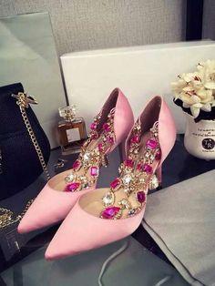 Women's Pink Stiletto Heel Satin Closed Toe With Rhinestone Chain High Heels,Women's Shoes
