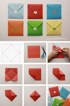 Origami Papier falten bunten Umschlag - List of the most creative DIY and Crafts Origami Paper Folding, Origami Diy, Oragami, Paper Folding Crafts, Origami Gifts, Origami Cards, Origami Boxes, Dollar Origami, Origami Ball