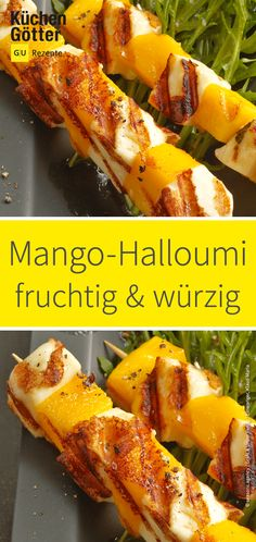 Mango halloumi kebabs on rocket salad - Fruity, juicy mango and spicy Halloumi . - Mango halloumi kebabs on rocket salad – Fruity, juicy mango and spicy Halloumi complement each o - Healthy Muffin Recipes, Healthy Smoothies, Clean Eating Recipes, Lunch Smoothie, Rocket Salad, Kebabs, Summer Recipes, Food Porn, Food And Drink