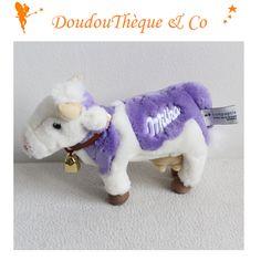 Peluche vache MILKA violet blanc peluche publicitaire cloche 20 cm
