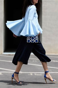 Blue frill shirt, culottes and sexy sandals