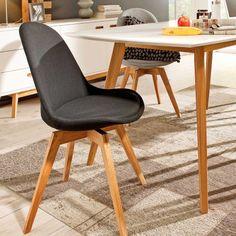 Esstisch stühle stoff  BASIL Stuhl Esszimmer Wartezimmer Stoff Grau & Eiche | Graue Möbel ...
