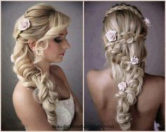 Ideas/styles for a bride! (: - 1) curls with flowers! (: - 2) braided hair with flowers! (: