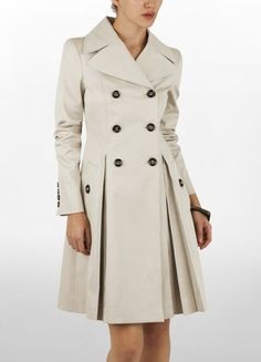 Burberry Double Breasted Twill Trench Coat With Pleated Skirt Profile Photo