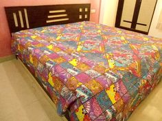 #handmade multi-colour floral #kantha #bedcover #indian #kantha fine stitch #bedspread