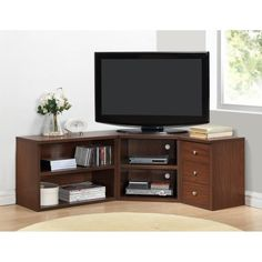 Corner TV Stand Wood Flat Screen Entertainment Center Media Console Cabinet Oak for sale online Corner Tv Stands, Corner Tv Unit, Cool Tv Stands, Corner Space, Rack Tv Modernos, L Shaped Tv Stand, Muebles Rack Tv, 55 Tv Stand, Flat Screen Tv Stand
