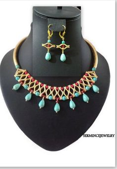 Turquoise Beaded Bib Statement Necklace  by SERMINCEJEWELRY