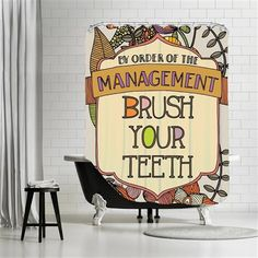Valentina Ramos - Brush your teeth 2, Shower Curtain, 180x180