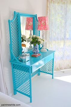 this is unreal!!   Painted faux bamboo....Hmmm...Bamboo painted vanity