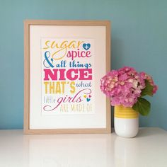 Sugar and Spice Girls Typography Print A4 by EskimoKissesUK