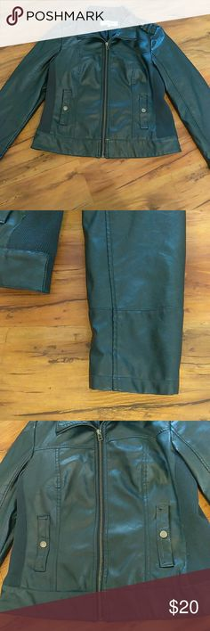 Blue leather like large jacket motorcycle sebby Womens large polyvinyl leather like jacket. Great condition , barely ever worn. Pit to pit 19 inches , 24 inches in length and sleeve is 24 inches from top of the shoulder. Sebby Jackets & Coats