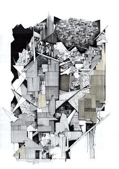 Fine detailed pen hatching and use of lines to describe texture. Abstract detailed work, good example of depth.
