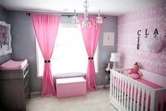 "Toddler Girl Room - pink and gray, very upscale looking although I'd have to do some painting unless we switch her to our room and reclaim the ""master bedroom"""