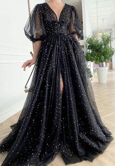 Fairy Prom Dress, Tulle Prom Dress, Boho Dress, Black Tulle Dress, A Line Prom Dresses, Evening Dresses, Prom Gowns, Long Gowns, Plus Size Prom Dresses