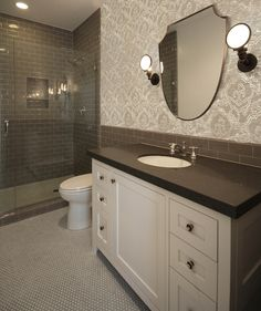 Sophisticated Bathroom Features Upper Walls Clad In Modern Gray Floral  Wallpaper And Lower Walls Clad In