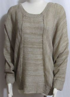 NEW Womens Ladies ALFANI Beige Oversized Dolman Sleeve Sweater XL Orig $79 #Alfani #OversizedSweater