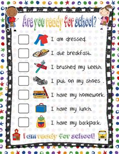 Help your children with their morning routine by having this checklist handy.