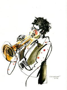 Trompetista JAZZ   by inmaserranito Music Drawings, Music Artwork, Art Music, Jazz Art, Jazz Club, Painting People, Urban Sketching, Watercolor And Ink, Photo Illustration