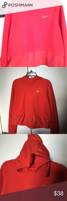 NIKE HOODIE Red and Breathable bottom part. Draw string for waist adjustments. Gorgeous hoodie. Style 725710. Crop type with breathable bottom style.  Fits more of small to medium depending on preference. Nike Tops Sweatshirts & Hoodies