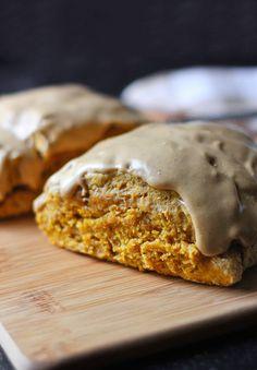 Pumpkin Spice Scones with Cappuccino Cream Glaze - it's a pumpkin spice latte ... in a scone.