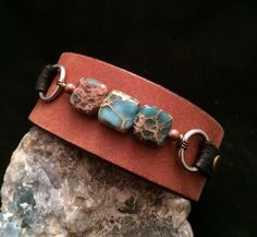 Handmade one of a kind leather cuff bracelet with stones on Etsy, $25.00