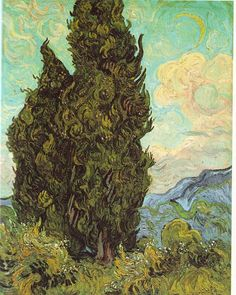 """""""Cypresses,"""" by Vincent Van Gogh. The Mediterranean or Graveyard cypress was an ancient symbol of mourning and remains a common choice in cemeteries across the Middle East and Europe."""