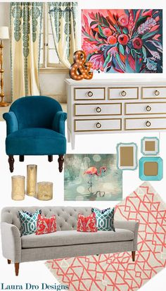 Living Room Design-Indigo, Aqua, Coral & Gold - Laura Dro Designs