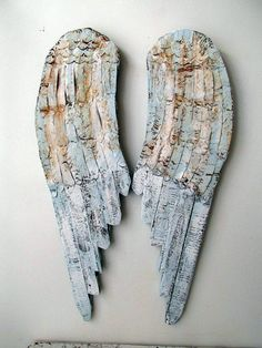 Metal Angel Wings Wall Decor metal angel wings wall sculpture shabby chic rusty blue distressed