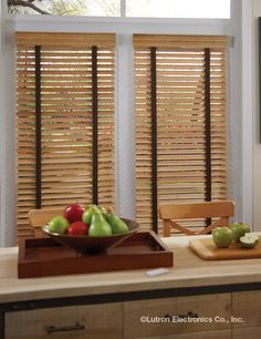 Venetian blinds with tapes bring the entire palette together. www.lutron.com/fabrics