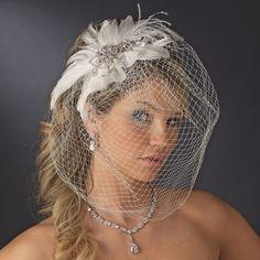 wedding veils and headpieces | Vintage Feather Bridal Headpiece and Veil - Elegant Bridal Hair ...