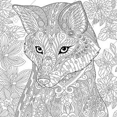 Fox Adult Coloring Page. Zentangle Doodle by ColoringPageExpress
