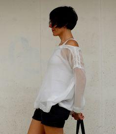 See Through Top, White Top , Transparent t-shirt
