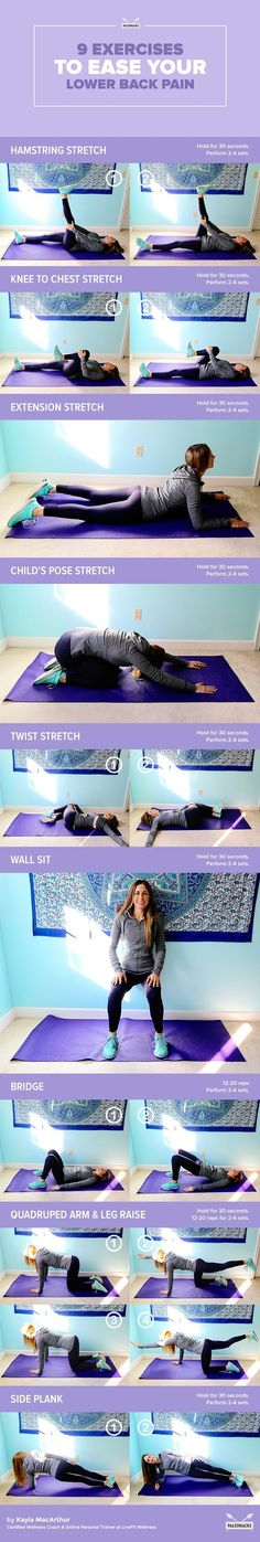 Pain Remedies 9 Exercises to Ease Your Lower Back Pain - These exercises directly stretch and strengthen your muscles to relieve tension in your lower back, as well as to provide you with a strong core foundation. Fitness Workouts, Yoga Fitness, Fitness Tips, Health Fitness, Workout Exercises, Ab Workouts, Lower Back Pain Relief, Low Back Pain, Hip Pain