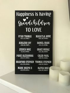 Painted Wood Grandchildren Sign with Name and DOB - Happiness is having Grandchildren to Love - Grandparents Sign - Gift Grandkids by TwoJaysCreative on Etsy https://www.etsy.com/listing/507564907/painted-wood-grandchildren-sign-with