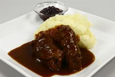 """""""Benløse Fugle"""" (""""Legless birds"""") danish specialty made of lean veal and bacon with gravy and mash. Very old school and very delicious!"""