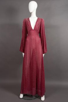 Ossie Clark pink metallic lurex Studio 54 evening gown, circa 1970s 2