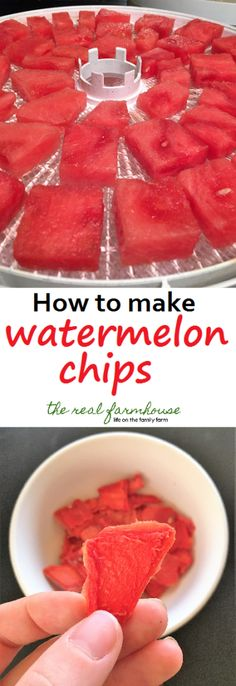 DIY Food Preservation Tips and Recipes : easy healthy homemade snack Snacks Diy, Healthy Homemade Snacks, Healthy Treats, Homemade Chips, Healthy Chips, Healthy Candy, Fruit Snacks, Watermelon Recipes, Fruit Recipes